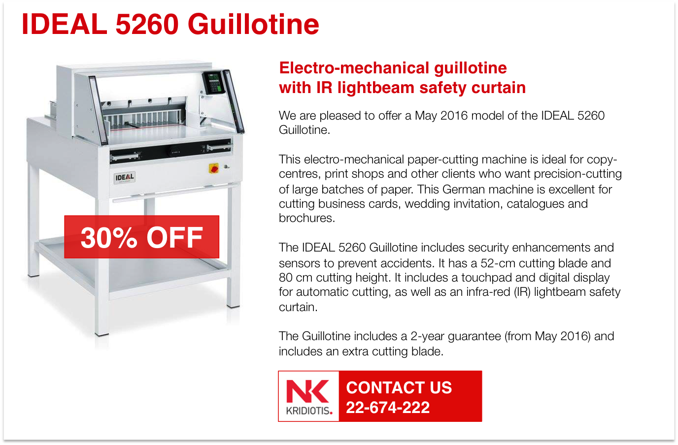 Special Offer- IDEAL 5260 Guillotine